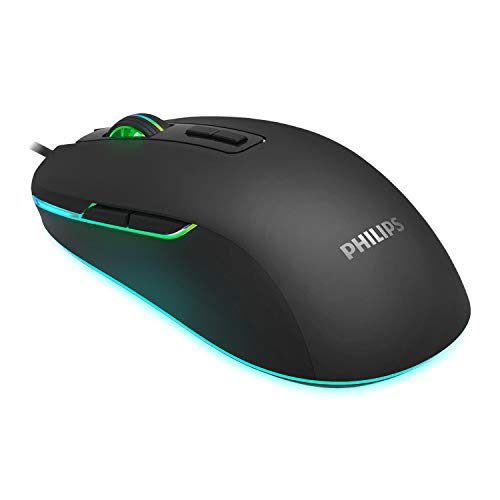 PHILIPS RGB Wired Gaming Mouse, 7 Programmable Buttons, Adjustable...