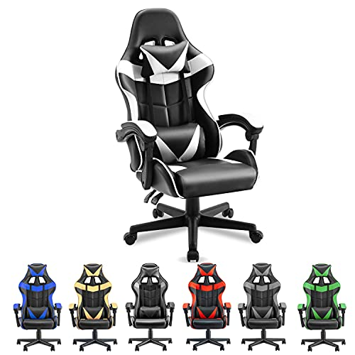 Soontrans Black and White Gaming Chair,Ergonomic Gamer Chair,Racing...