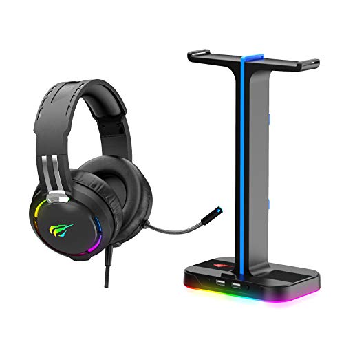 Havit RGB Gaming Headset and Headphone Stand 2 in 1 Set, Desk Dual...