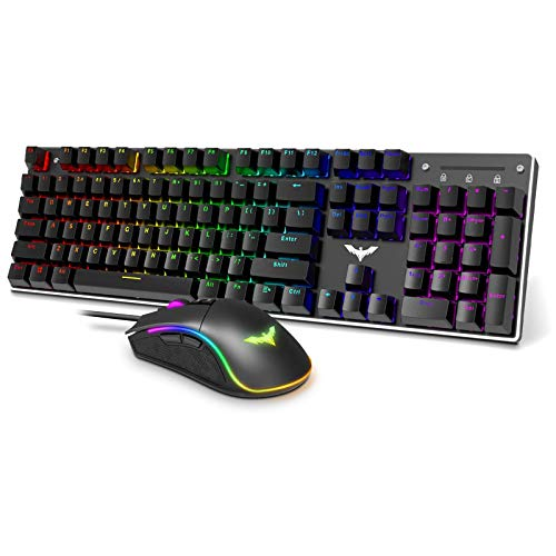 Havit Mechanical Gaming Keyboard and Mouse Combo Blue Switch 104 Keys...
