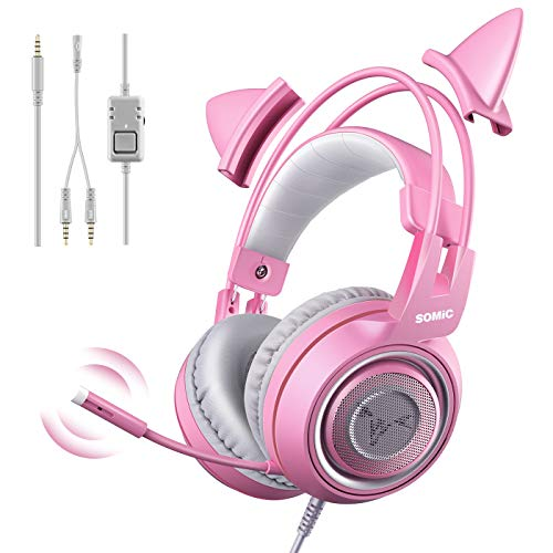 SOMIC G951s Pink Stereo Gaming Headset with Mic for PS4, Xbox One, PC,...