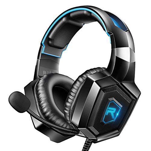 RUNMUS K8 Gaming Headset for PS4, Xbox One, PC Headset w/Surround...