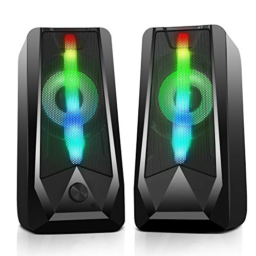 PC Gaming Speakers 16W 2.0 Deep Bass USB Wired RGB Computer Speaker...